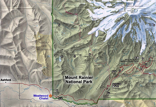 westwood chalet/mt. rainier national park map