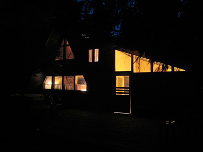 Westwood Chalet at night